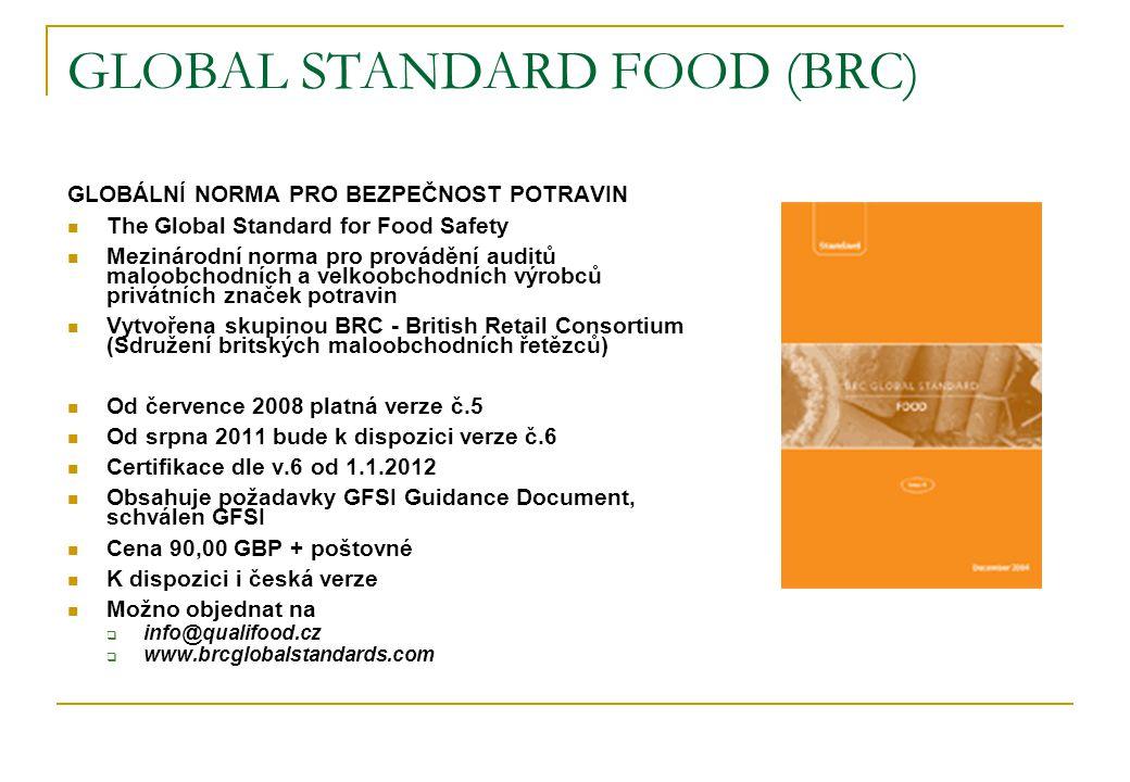 GLOBAL STANDARD FOOD (BRC) GLOBÁLNÍ NORMA PRO BEZPEČNOST POTRAVIN  The Global Standard for Food Safety  Mezinárodní norma pro provádění auditů maloobchodních a velkoobchodních výrobců privátních značek potravin  Vytvořena skupinou BRC - British Retail Consortium (Sdružení britských maloobchodních řetězců)  Od července 2008 platná verze č.5  Od srpna 2011 bude k dispozici verze č.6  Certifikace dle v.6 od 1.1.2012  Obsahuje požadavky GFSI Guidance Document, schválen GFSI  Cena 90,00 GBP + poštovné  K dispozici i česká verze  Možno objednat na  info@qualifood.cz  www.brcglobalstandards.com