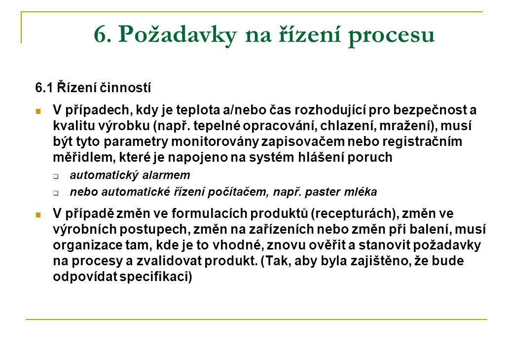 6. Požadavky na řízení procesu 6.1 Řízení činností  V případech, kdy je teplota a/nebo čas rozhodující pro bezpečnost a kvalitu výrobku (např. tepeln