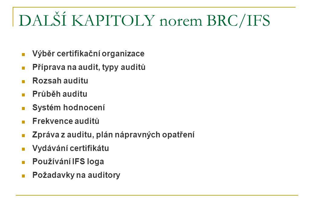 DALŠÍ KAPITOLY norem BRC/IFS  Výběr certifikační organizace  Příprava na audit, typy auditů  Rozsah auditu  Průběh auditu  Systém hodnocení  Frekvence auditů  Zpráva z auditu, plán nápravných opatření  Vydávání certifikátu  Používání IFS loga  Požadavky na auditory