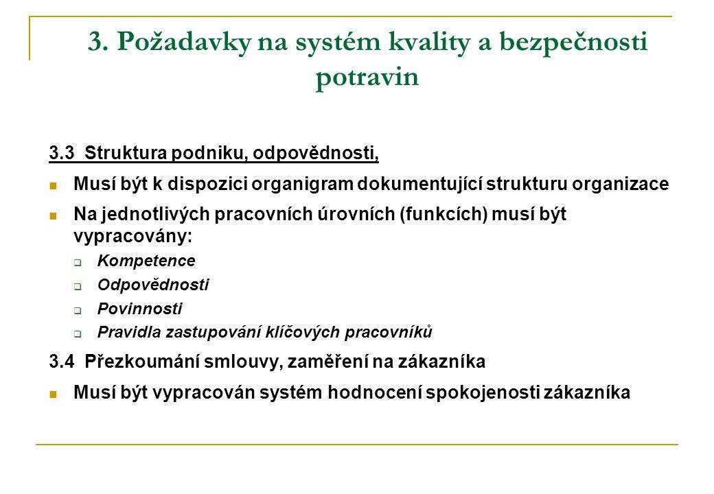 3. Požadavky na systém kvality a bezpečnosti potravin 3.3 Struktura podniku, odpovědnosti,  Musí být k dispozici organigram dokumentující strukturu o