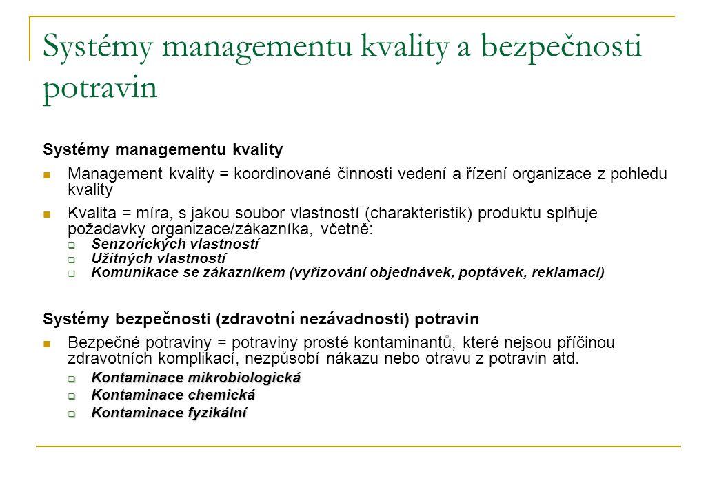 Systémy managementu kvality a bezpečnosti potravin Systémy managementu kvality  Management kvality = koordinované činnosti vedení a řízení organizace z pohledu kvality  Kvalita = míra, s jakou soubor vlastností (charakteristik) produktu splňuje požadavky organizace/zákazníka, včetně:  Senzorických vlastností  Užitných vlastností  Komunikace se zákazníkem (vyřizování objednávek, poptávek, reklamací) Systémy bezpečnosti (zdravotní nezávadnosti) potravin  Bezpečné potraviny = potraviny prosté kontaminantů, které nejsou příčinou zdravotních komplikací, nezpůsobí nákazu nebo otravu z potravin atd.