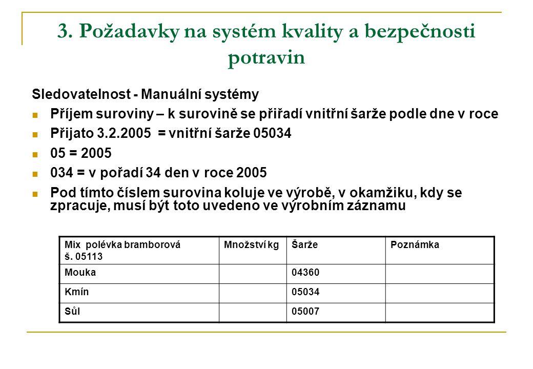 3. Požadavky na systém kvality a bezpečnosti potravin Sledovatelnost - Manuální systémy  Příjem suroviny – k surovině se přiřadí vnitřní šarže podle