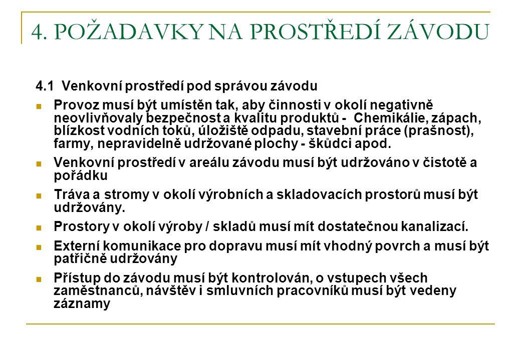 4. POŽADAVKY NA PROSTŘEDÍ ZÁVODU 4.1 Venkovní prostředí pod správou závodu  Provoz musí být umístěn tak, aby činnosti v okolí negativně neovlivňovaly