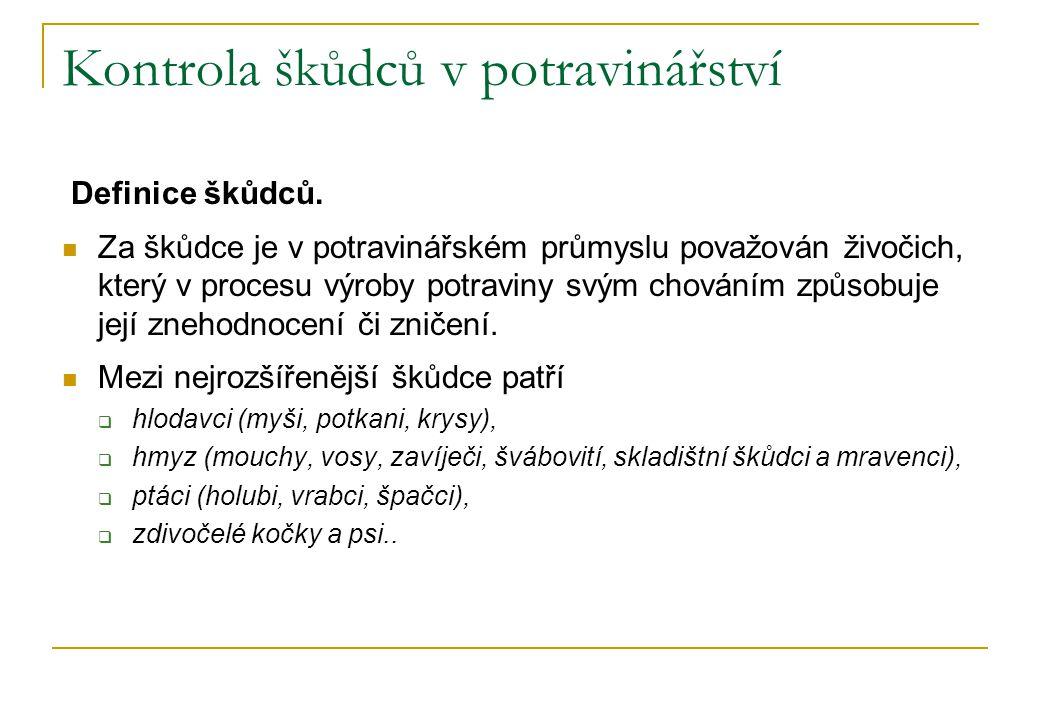 Kontrola škůdců v potravinářství Definice škůdců.