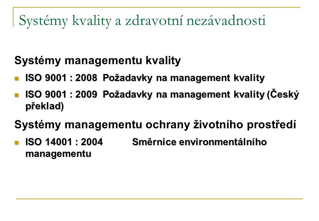 Systémy kvality a zdravotní nezávadnosti Systémy managementu kvality  ISO 9001 : 2008Požadavky na management kvality  ISO 9001 : 2009Požadavky na management kvality (Český překlad) Systémy managementu ochrany životního prostředí  ISO 14001 : 2004Směrnice environmentálního managementu