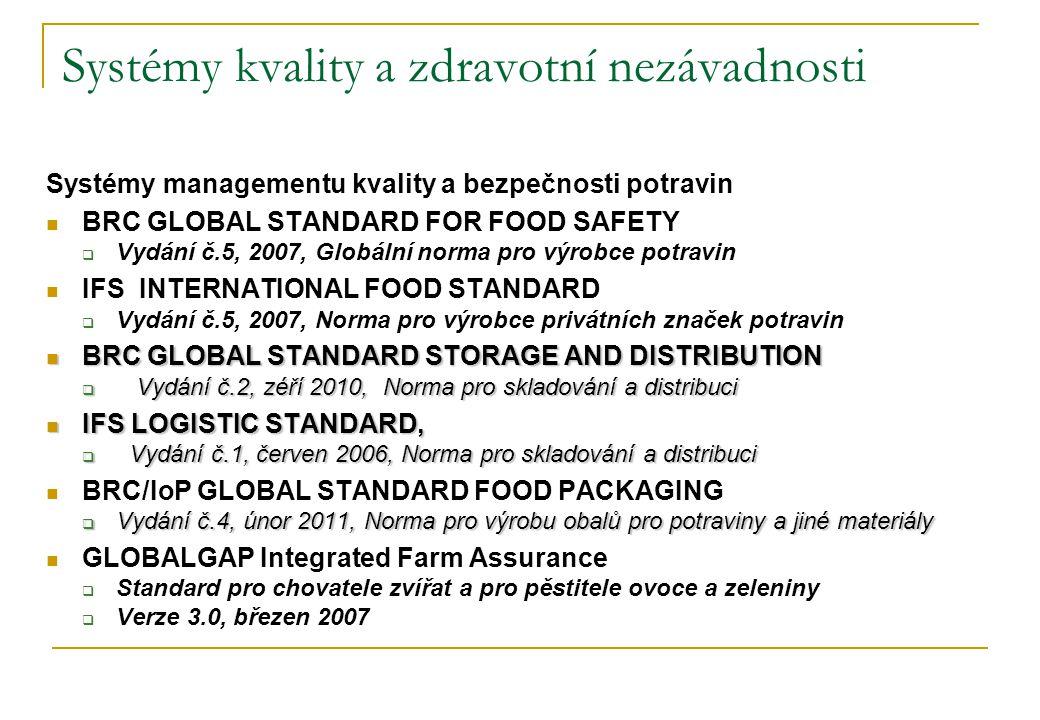 Systémy kvality a zdravotní nezávadnosti Systémy managementu kvality a bezpečnosti potravin  BRC GLOBAL STANDARD FOR FOOD SAFETY  Vydání č.5, 2007, Globální norma pro výrobce potravin  IFS INTERNATIONAL FOOD STANDARD  Vydání č.5, 2007, Norma pro výrobce privátních značek potravin  BRC GLOBAL STANDARD STORAGE AND DISTRIBUTION  Vydání č.2, zéří 2010, Norma pro skladování a distribuci  IFS LOGISTIC STANDARD,  Vydání č.1, červen 2006, Norma pro skladování a distribuci  BRC/IoP GLOBAL STANDARD FOOD PACKAGING  Vydání č.4, únor 2011, Norma pro výrobu obalů pro potraviny a jiné materiály  GLOBALGAP Integrated Farm Assurance  Standard pro chovatele zvířat a pro pěstitele ovoce a zeleniny  Verze 3.0, březen 2007