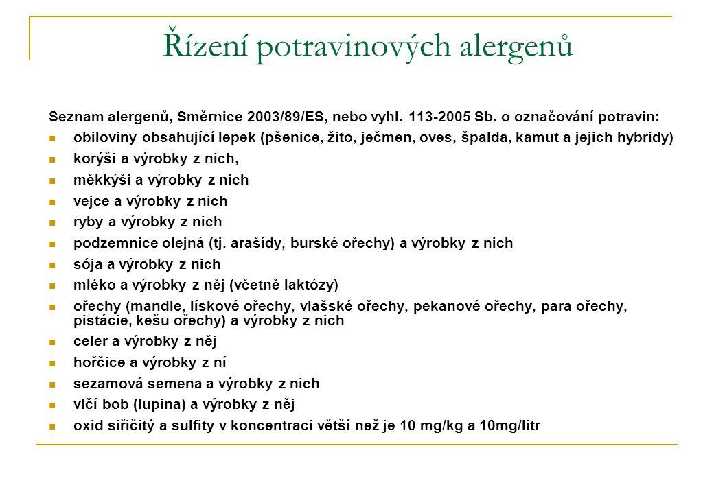 Řízení potravinových alergenů Seznam alergenů, Směrnice 2003/89/ES, nebo vyhl.