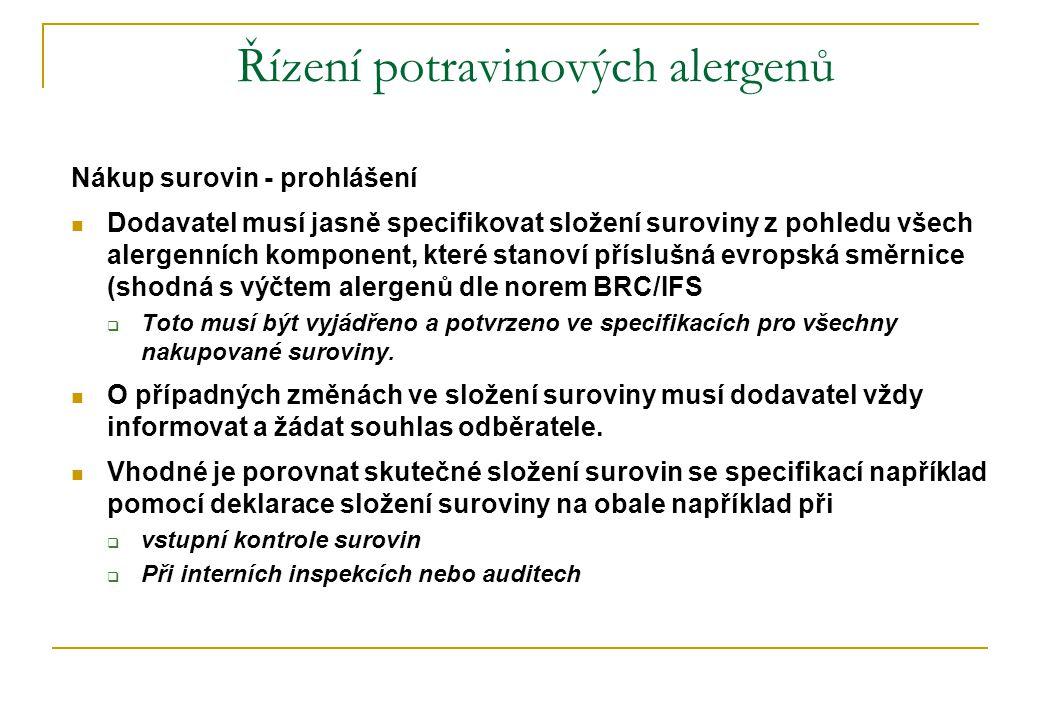 Řízení potravinových alergenů Nákup surovin - prohlášení  Dodavatel musí jasně specifikovat složení suroviny z pohledu všech alergenních komponent, které stanoví příslušná evropská směrnice (shodná s výčtem alergenů dle norem BRC/IFS  Toto musí být vyjádřeno a potvrzeno ve specifikacích pro všechny nakupované suroviny.