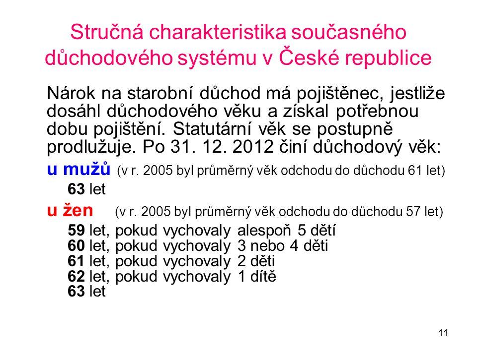 11 Stručná charakteristika současného důchodového systému v České republice Nárok na starobní důchod má pojištěnec, jestliže dosáhl důchodového věku a