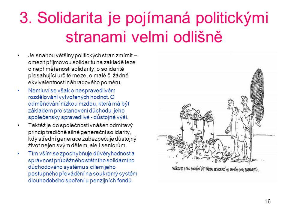 16 3. Solidarita je pojímaná politickými stranami velmi odlišně •Je snahou většiny politických stran zmírnit – omezit příjmovou solidaritu na základě