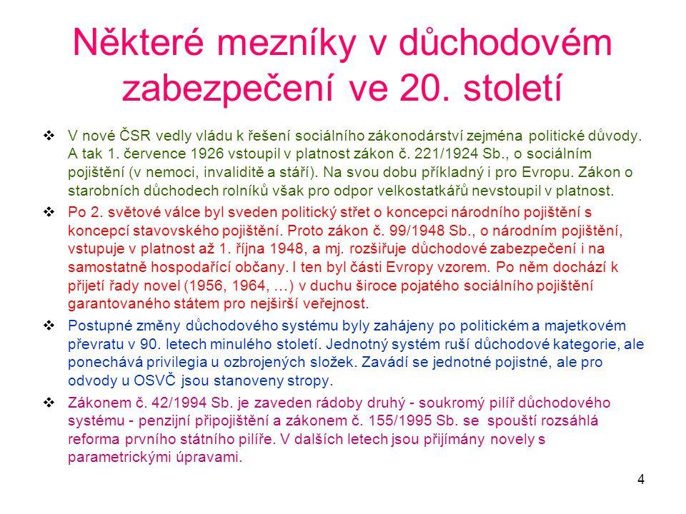 4 Některé mezníky v důchodovém zabezpečení ve 20. století  V nové ČSR vedly vládu k řešení sociálního zákonodárství zejména politické důvody. A tak 1