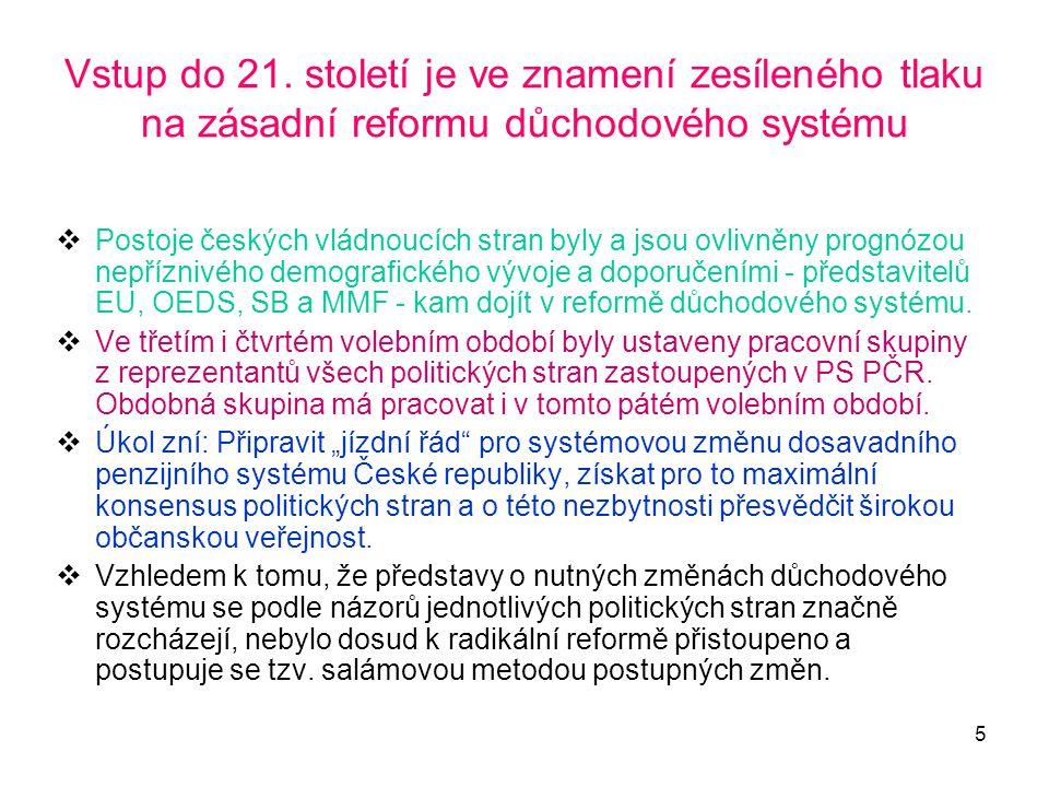 5 Vstup do 21. století je ve znamení zesíleného tlaku na zásadní reformu důchodového systému  Postoje českých vládnoucích stran byly a jsou ovlivněny