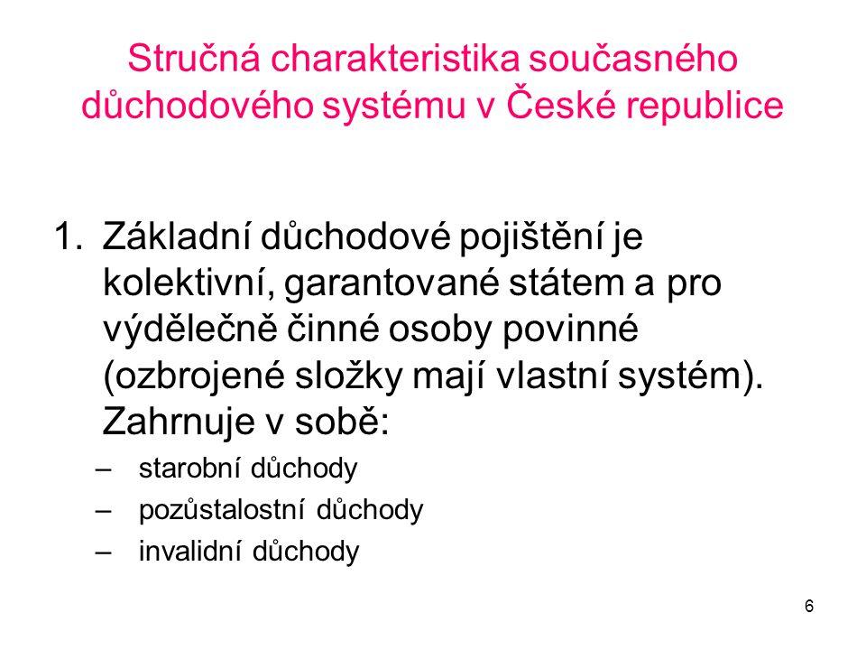6 Stručná charakteristika současného důchodového systému v České republice 1.Základní důchodové pojištění je kolektivní, garantované státem a pro výdě
