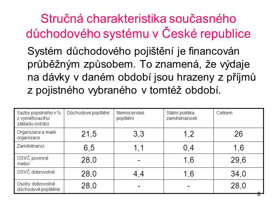 8 Stručná charakteristika současného důchodového systému v České republice Systém důchodového pojištění je financován průběžným způsobem. To znamená,