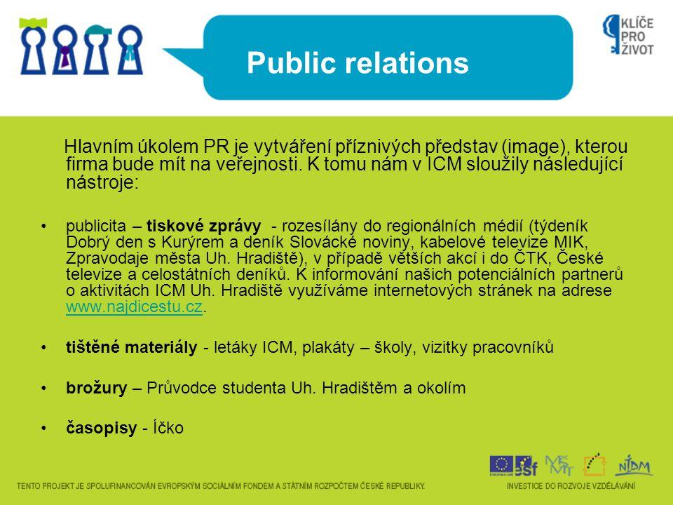 Public relations Hlavním úkolem PR je vytváření příznivých představ (image), kterou firma bude mít na veřejnosti. K tomu nám v ICM sloužily následujíc