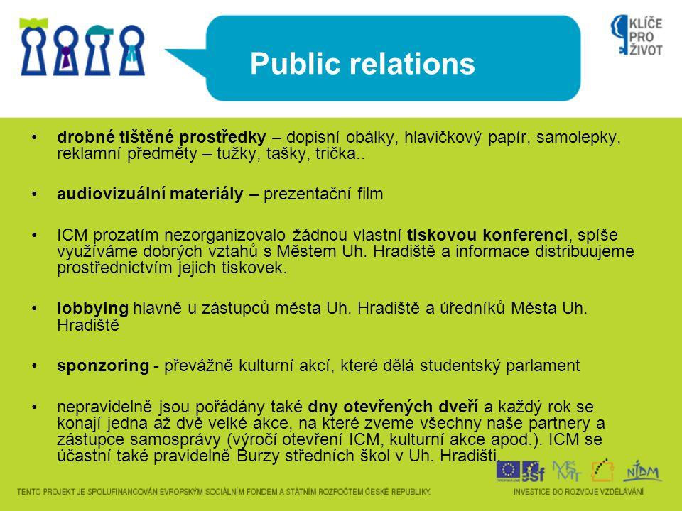 Public relations •drobné tištěné prostředky – dopisní obálky, hlavičkový papír, samolepky, reklamní předměty – tužky, tašky, trička.. •audiovizuální m