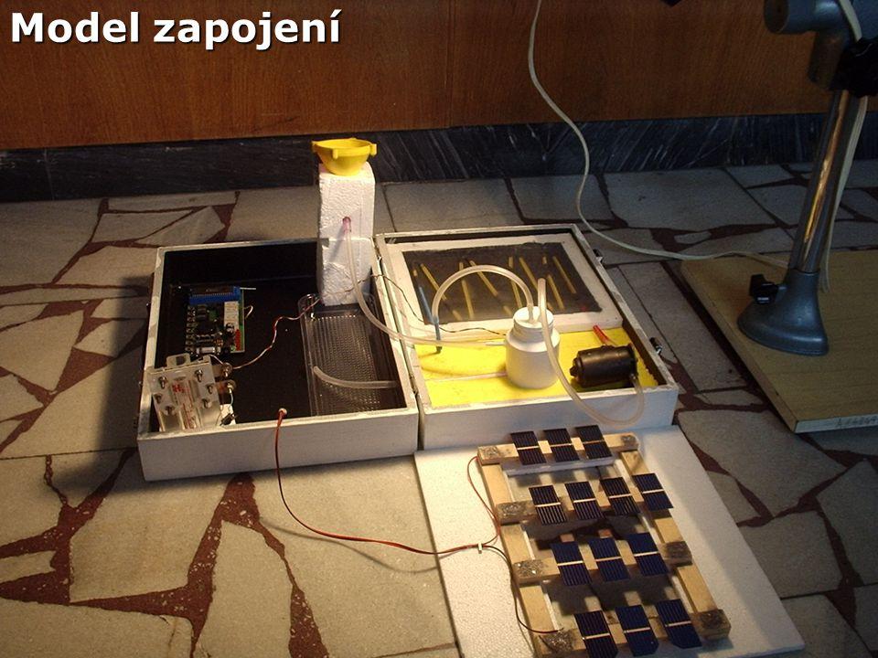 Získávání energie :  Energii pro provoz čerpadla a elektroniky získáváme ze solárních článků a ukládáme do akumulátoru a palivového vodíkového článku.