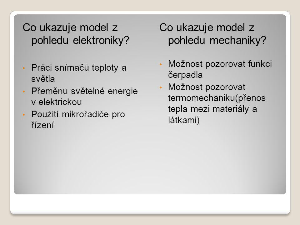 Co ukazuje model z pohledu elektroniky.