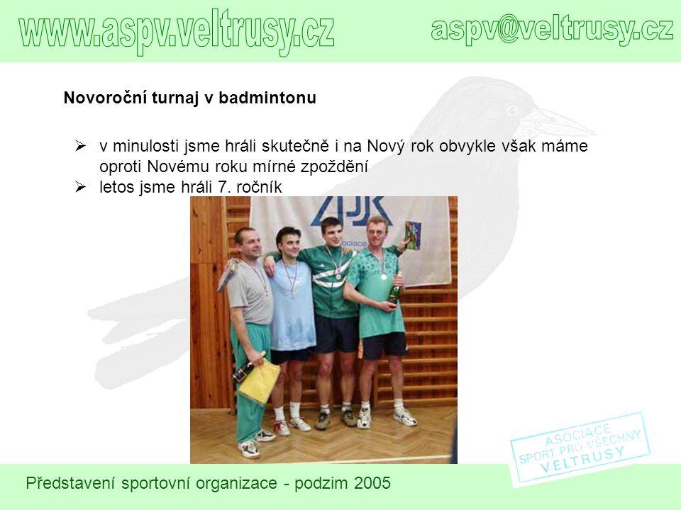 Představení sportovní organizace - podzim 2005 Novoroční turnaj v badmintonu  v minulosti jsme hráli skutečně i na Nový rok obvykle však máme oproti