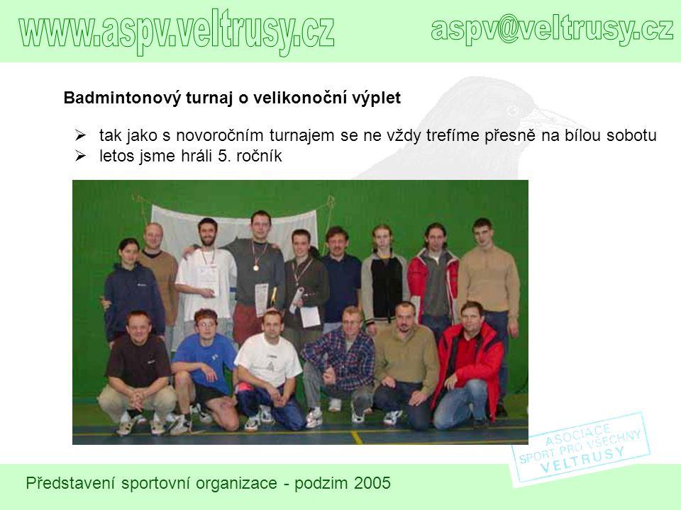 Představení sportovní organizace - podzim 2005 Badmintonový turnaj o velikonoční výplet  tak jako s novoročním turnajem se ne vždy trefíme přesně na