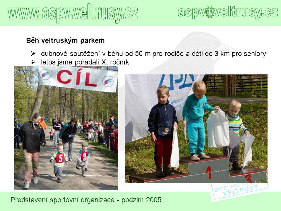 Představení sportovní organizace - podzim 2005 Běh veltruským parkem  dubnové soutěžení v běhu od 50 m pro rodiče a děti do 3 km pro seniory  letos