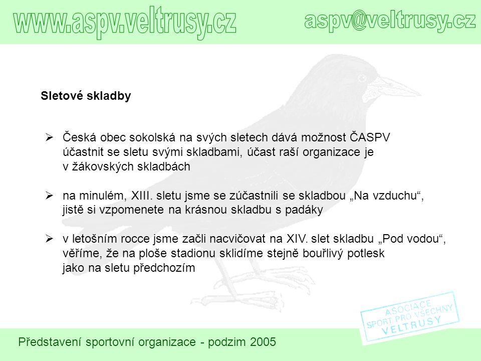 Představení sportovní organizace - podzim 2005 Sletové skladby  Česká obec sokolská na svých sletech dává možnost ČASPV účastnit se sletu svými sklad