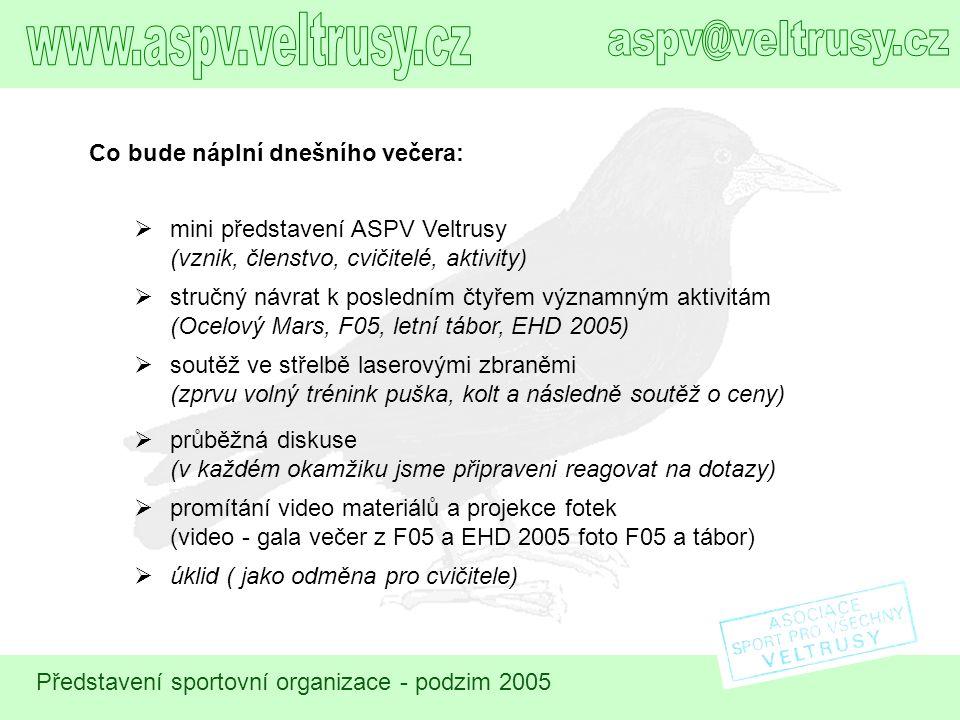 Představení sportovní organizace - podzim 2005  mini představení ASPV Veltrusy (vznik, členstvo, cvičitelé, aktivity) Co bude náplní dnešního večera: