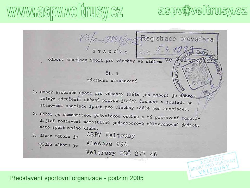 Další sportovní organizace v naší obci s cca 1600 obyvateli jsou celkem tři (v abecedním pořadí):  AFK Veltrusy s cíleným zaměřením na fotbal pro všechny věkové kategorie, následník TJ Veltrusy  AŠSK působí při Základní škole Veltrusy a je určena pro školní děti  TJ SOKOL Veltrusy, znovuzaložena sportovní organizace v prvé polovině 90.