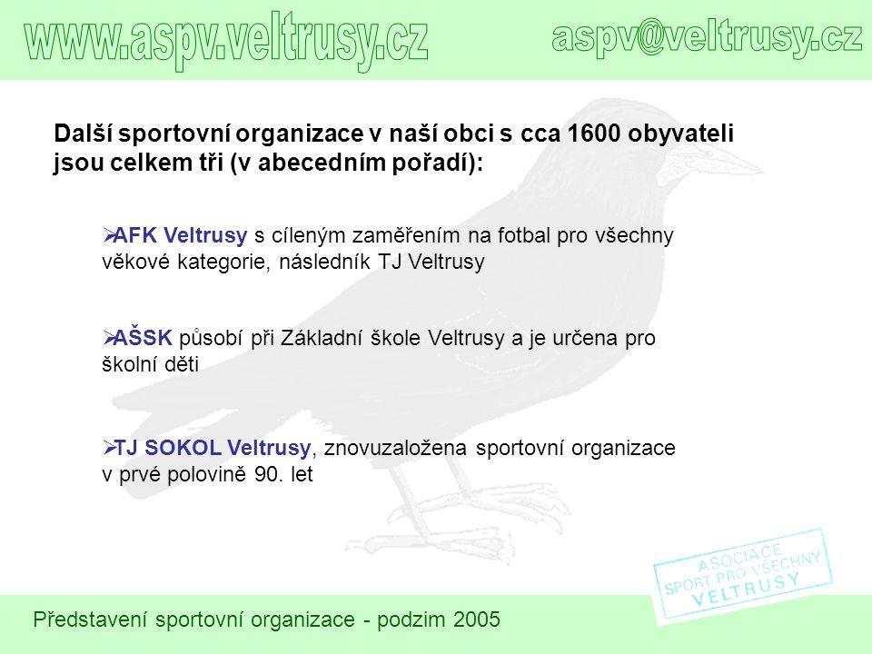 Další sportovní organizace v naší obci s cca 1600 obyvateli jsou celkem tři (v abecedním pořadí):  AFK Veltrusy s cíleným zaměřením na fotbal pro vše