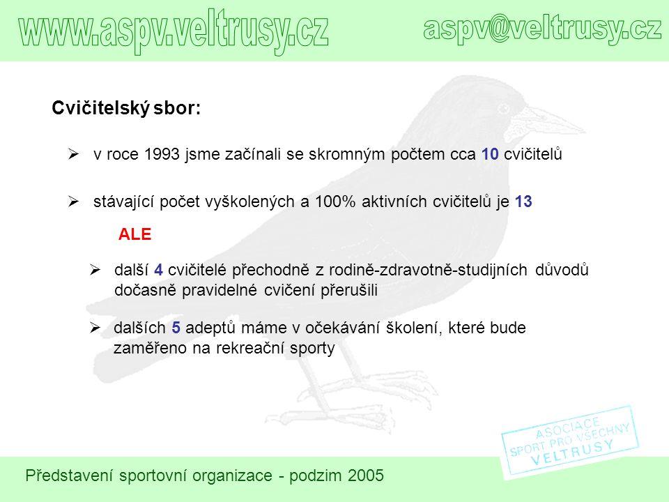 Představení sportovní organizace - podzim 2005 15:00 16:00 17:00 18:00 19:00 20:00 21:00 PO Předškolní žactvo Starší žákyně Balanční techniky Aerobic I.