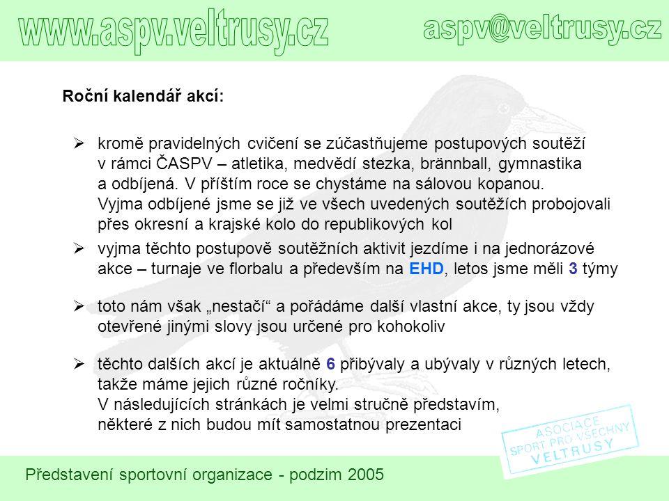 Představení sportovní organizace - podzim 2005 Mikulášská nadílka  dětská radost s kapkou hrůzy nás v některém dnu kolem 5.
