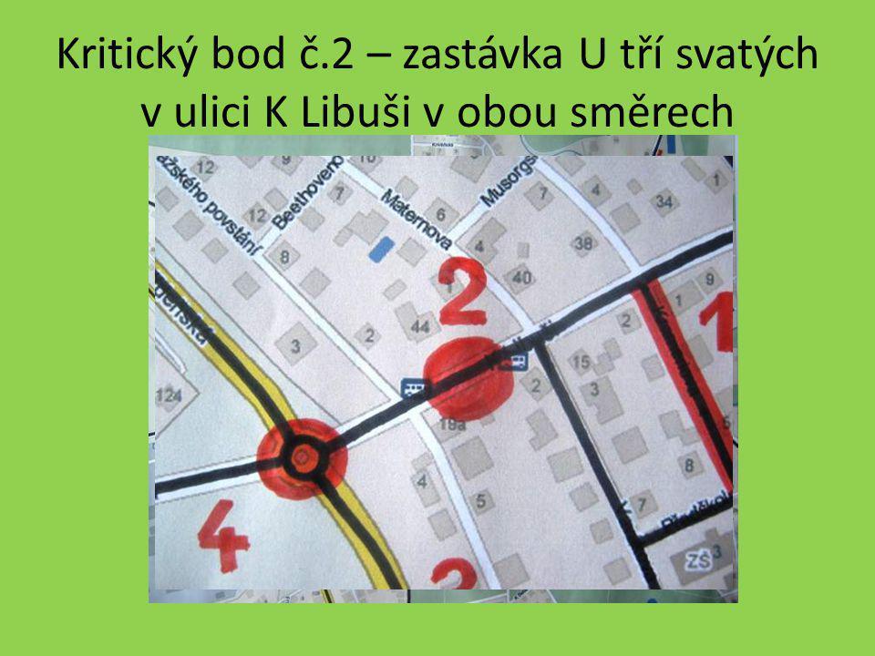Kritický bod č.2 – zastávka U tří svatých v ulici K Libuši v obou směrech