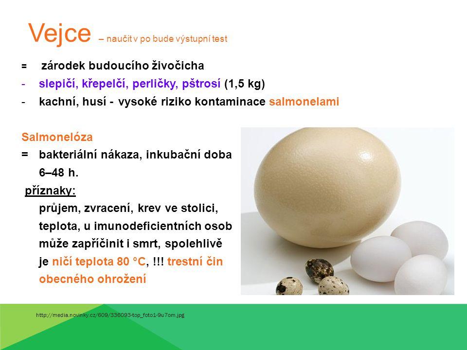 Vejce – naučit v po bude výstupní test = zárodek budoucího živočicha -slepičí, křepelčí, perličky, pštrosí (1,5 kg) -kachní, husí - vysoké riziko kont