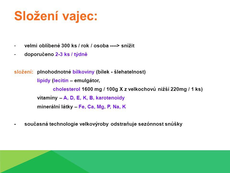 Složení vajec: -velmi oblíbené 300 ks / rok / osoba ----> snížit -doporučeno 2-3 ks / týdně složení: plnohodnotné bílkoviny (bílek - šlehatelnost) lip