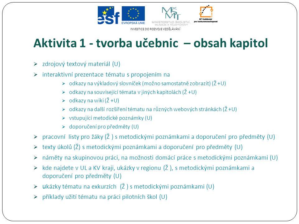 Aktivita 1 - tvorba učebnic – obsah kapitol  zdrojový textový materiál (U)  interaktivní prezentace tématu s propojením na  odkazy na výkladový slovníček (možno samostatně zobrazit) (Ž +U)  odkazy na související témata v jiných kapitolách (Ž +U)  odkazy na wiki (Ž +U)  odkazy na další rozšíření tématu na různých webových stránkách (Ž +U)  vstupující metodické poznámky (U)  doporučení pro předměty (U)  pracovní listy pro žáky (Ž ) s metodickými poznámkami a doporučení pro předměty (U)  texty úkolů (Ž) s metodickými poznámkami a doporučení pro předměty (U)  náměty na skupinovou práci, na možnosti domácí práce s metodickými poznámkami (U)  kde najdete v UL a KV kraji, ukázky v regionu (Ž ), s metodickými poznámkami a doporučení pro předměty (U)  u kázky tématu na exkurzích (Ž ) s metodickými poznámkami (U)  příklady užití tématu na práci pilotních škol (U) INVESTICE DO ROZVOJE VZDĚLÁVÁNÍ