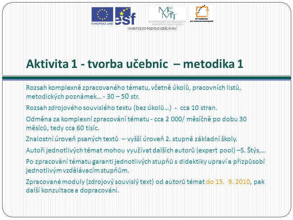 Aktivita 1 - tvorba učebnic – metodika 1 Rozsah komplexně zpracovaného tématu, včetně úkolů, pracovních listů, metodických poznámek… - 30 – 5 0 str.
