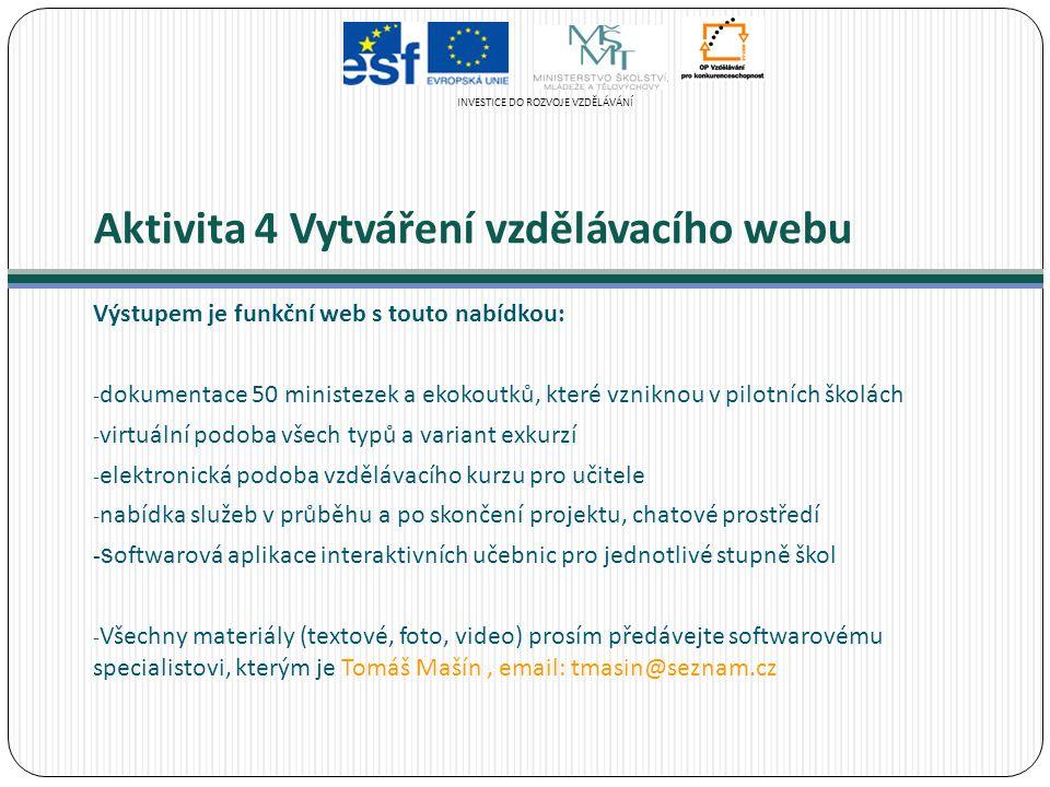 Aktivita 4 Vytváření vzdělávacího webu Výstupem je funkční web s touto nabídkou: - dokumentace 50 ministezek a ekokoutků, které vzniknou v pilotních š