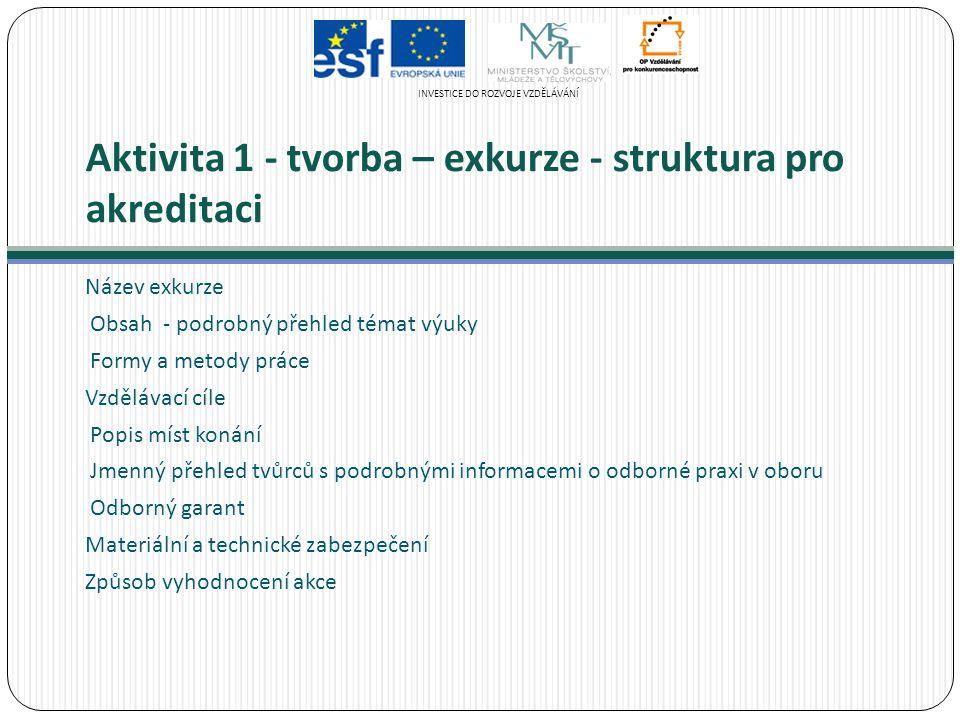 Aktivita 1 - tvorba – exkurze - struktura pro akreditaci Název exkurze Obsah - podrobný přehled témat výuky Formy a metody práce Vzdělávací cíle Popis