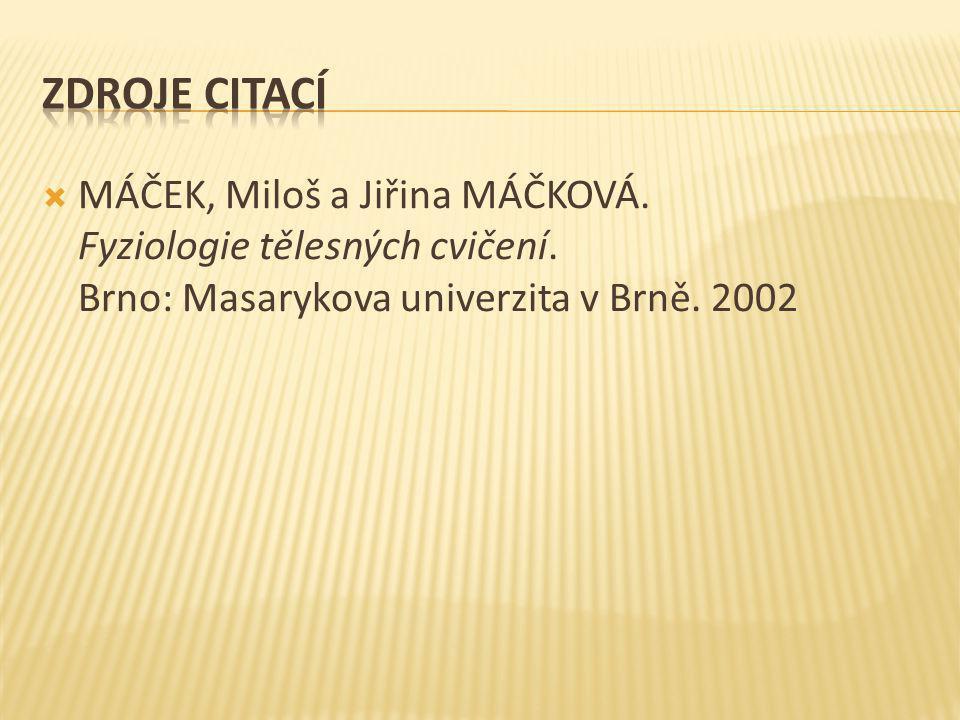  MÁČEK, Miloš a Jiřina MÁČKOVÁ. Fyziologie tělesných cvičení. Brno: Masarykova univerzita v Brně. 2002