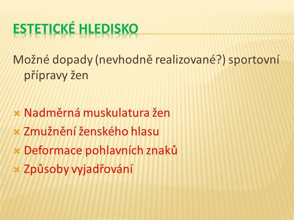 Možné dopady (nevhodně realizované?) sportovní přípravy žen  Nadměrná muskulatura žen  Zmužnění ženského hlasu  Deformace pohlavních znaků  Způsob