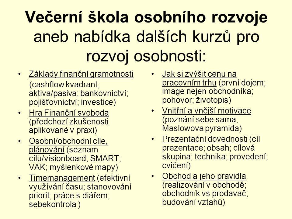 Večerní škola osobního rozvoje aneb nabídka dalších kurzů pro rozvoj osobnosti: •Základy finanční gramotnosti (cashflow kvadrant; aktiva/pasiva; bankovnictví; pojišťovnictví; investice) •Hra Finanční svoboda (předchozí zkušenosti aplikované v praxi) •Osobní/obchodní cíle, plánování (seznam cílů/visionboard; SMART; VAK; myšlenkové mapy) •Timemanagement (efektivní využívání času; stanovování priorit; práce s diářem; sebekontrola ) •Jak si zvýšit cenu na pracovním trhu (první dojem; image nejen obchodníka; pohovor; životopis) •Vnitřní a vnější motivace (poznání sebe sama; Maslowova pyramida) •Prezentační dovednosti (cíl prezentace; obsah; cílová skupina; technika; provedení; cvičení) •Obchod a jeho pravidla (realizování v obchodě; obchodník vs prodavač; budování vztahů)