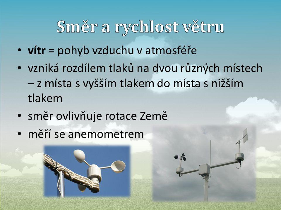 • vítr = pohyb vzduchu v atmosféře • vzniká rozdílem tlaků na dvou různých místech – z místa s vyšším tlakem do místa s nižším tlakem • směr ovlivňuje rotace Země • měří se anemometrem