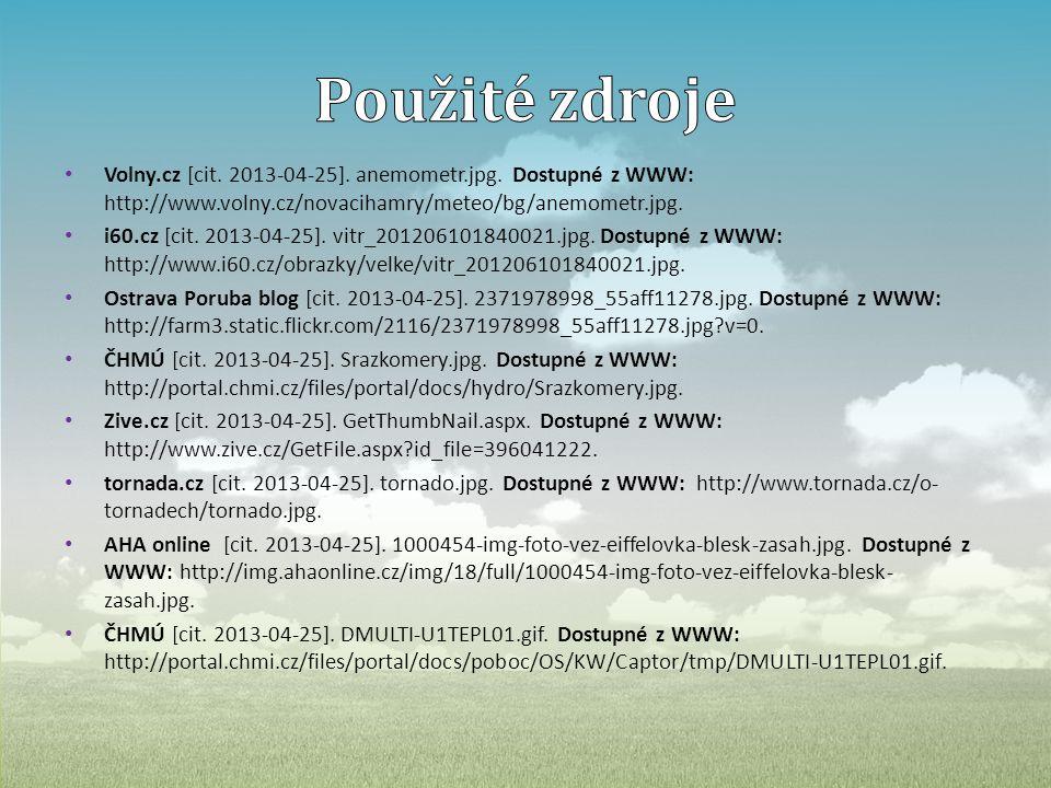 • Volny.cz [cit. 2013-04-25]. anemometr.jpg. Dostupné z WWW: http://www.volny.cz/novacihamry/meteo/bg/anemometr.jpg. • i60.cz [cit. 2013-04-25]. vitr_
