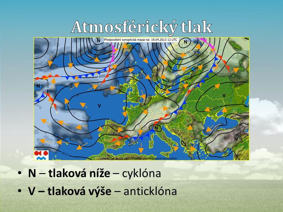• N – tlaková níže – cyklóna • V – tlaková výše – anticklóna