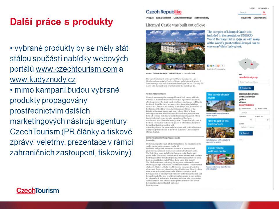 Další práce s produkty • vybrané produkty by se měly stát stálou součástí nabídky webových portálů www.czechtourism.com a www.kudyznudy.czwww.czechtou
