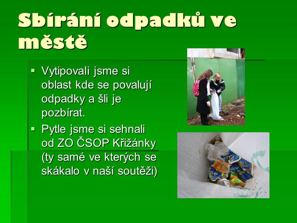 Sbírání odpadků ve městě  Vytipovali jsme si oblast kde se povalují odpadky a šli je pozbírat.  Pytle jsme si sehnali od ZO ČSOP Křižánky (ty samé v