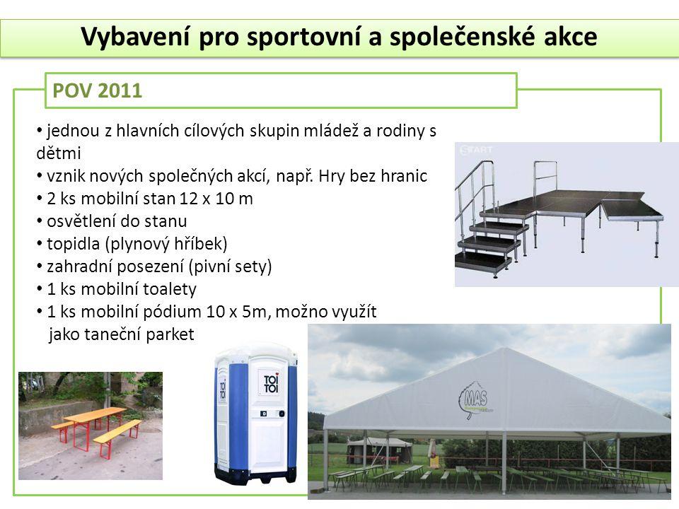 POV 2011 Vybavení pro sportovní a společenské akce • jednou z hlavních cílových skupin mládež a rodiny s dětmi • vznik nových společných akcí, např. H