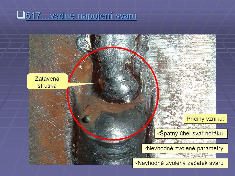  512…nadměrná asymetrie koutového svaru Příčiny vzniku:  Špatný úhel svař.hořáku  Nevhodný pohyb hořáku  Špatné sestavení dílců Špatné sestavení dílců