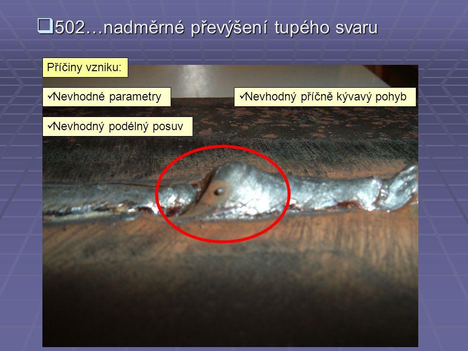  5013…vruby v kořeni svaru Příčiny vzniku:  Nevhodné parametry  Nezvládnuté napojení svaru  Nevhodná styčná mezera  Nevhodné otupení v kořeni