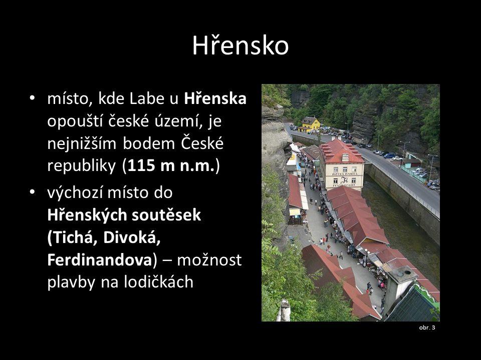 Hřensko • místo, kde Labe u Hřenska opouští české území, je nejnižším bodem České republiky (115 m n.m.) • výchozí místo do Hřenských soutěsek (Tichá,